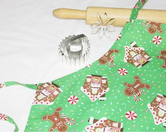 Gingerbread Houses and Cookies Youth Size Apron - green