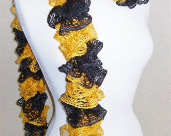 Pittsburgh Steelers Football Ruffled Lace Scarf  Sparkle Black Yellow  NFL Accessory