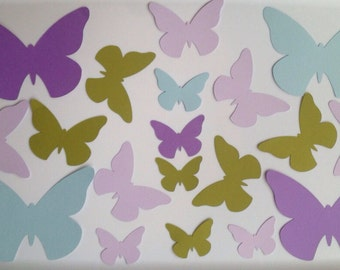 Ready to ship 3d paper  butterflies, shades of purple, green and blue, nursery wall art, 3d paper wall butterflies, paper wall art