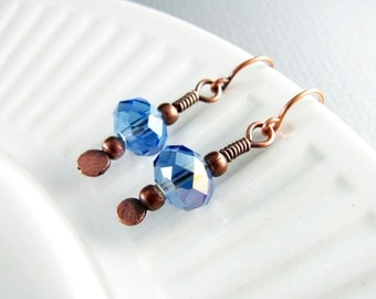 Wire Wrapped Earrings Copper Jewelry Blue Crystal Earrings Wire Wrapped Jewelry Copper Earrings Crystal