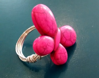 Pink Wire Wrapped Butterfly Ring