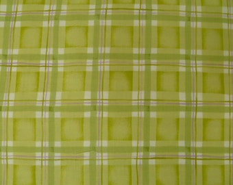 Red Rooster Fabric, Brooke's Garden, Green, 9631, Plaid. Lime Green