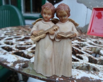 Vintage 1950s to 1960s British Hong Kong # 932 Singing Angels With Wings Plastic Christmas Decor