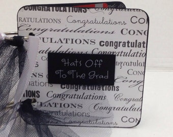 Graduation gift card holder Chipboard black and white congrats Hats off to the Grad