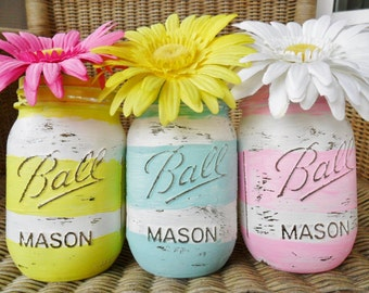 Hand Painted Mason Jars Wedding Decor / Baby Shower Decor Spring / Summer Decor Set of 3 LOT Striped Blue / Green / Pink Shabby Chic