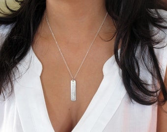 Valentines day gift, Sterling silver bar necklace, I love you necklace, Vertical bar necklace, Layering necklace