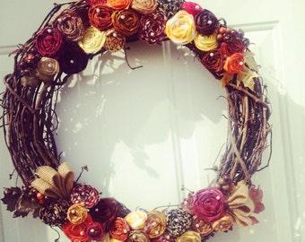 "Fall Decorative 18"" Rosette Wreath"