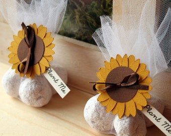 Sunflower Themed Wedding Favours | Seed bomb wedding favor | Plantable party favor | Summer wedding favor | Sunflower guest gift