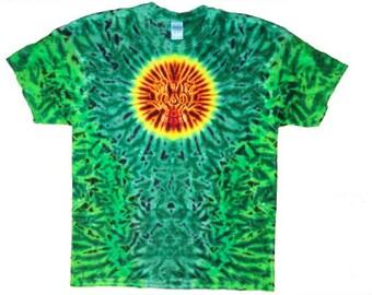 Tie Dye Tee shirt, sun w/greens
