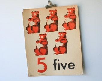 Vintage 1960s School Poster of Five Bears
