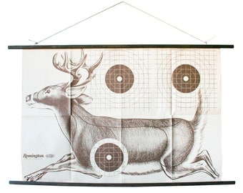 vintage paper shooting target: RARE large running deer