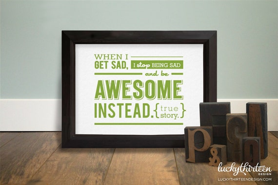Be Awesome Instead - 5x7 Word Art in Olive (Hand Screenprinted)