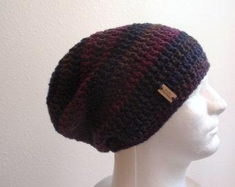 Crochet Slouch Hat Blue Beanie, Mens Beanie, Womens Hat, Blue and Purple Striped, Mens Slouchy Beanie, Mens Fashion, Fall Apparel