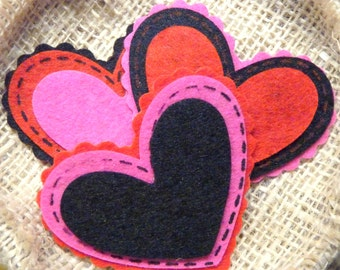 Heart Hair Clip : Black Red or Pink Heart Felt Valentines Day Hair Clip Clippie Hair Bow - You Choose Color