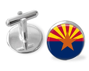 ARIZONA STATE Flag Cufflinks / Arizona cuff links /  Grand Canyon State / state flag jewelry / Groomsmen Gift / Personalized Gift for Him