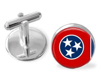 TENNESSEE STATE Flag Cufflinks / Tennessee cuff links / The Volunteer State / state flag jewelry / Personalized Gift for Him / Gift Boxed
