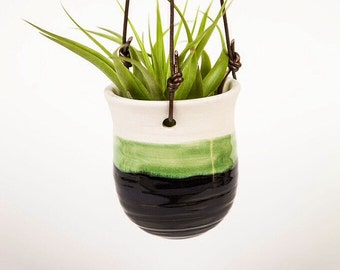 Porcelain Hanging Planter with White, Blue and Green