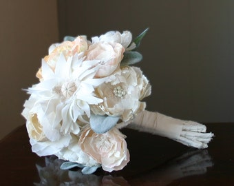 Silk fabric flower bouquet.  Completely hand made flowers . Mother's vintage wedding dress fabric