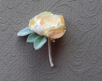 Hand cut and pressed silk flower boutonniere . Vintage silk fabric . Faded antique look milinery rose