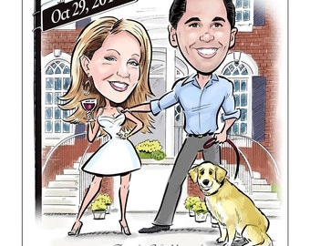 Fun Wedding Save the Date Cards and Save the Date Magnets, Wedding Invitations - Custom Caricature Cartoon Portrait from Your Photos