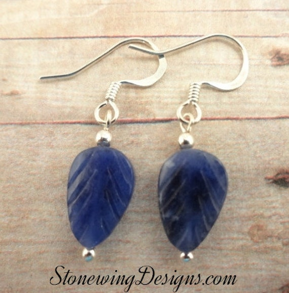 Sodalite Earrings, Stone Leaf Earrings, Blue Stone Earrings, Gemstone Earrings, Blue Leaf Earrings, everyday earrings, blue jean earrings