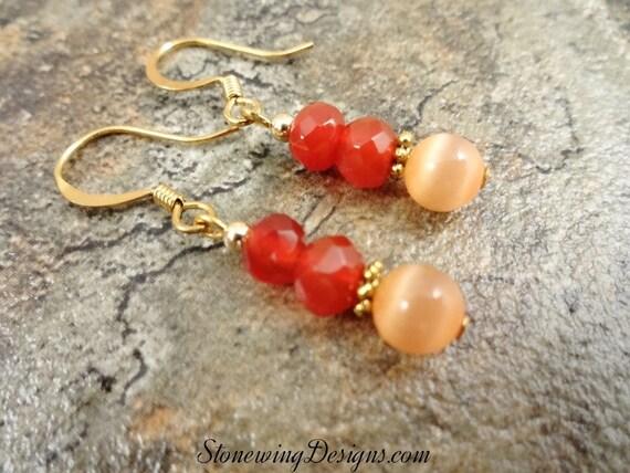 Carnelian and Peach Fiber Optic Glass Earrings