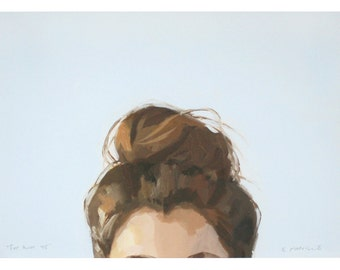 "5x7"" hair art - bun print - ""Top Knot 45"""