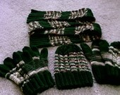 Hunter Green and Woodsy Scarf, Hat, Gloves and Mittens Set
