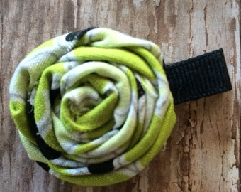 Lime Green - Black - White Rolled Frayed Fabric Rosette Hair Clip Babies-Toddlers-Girls-Women