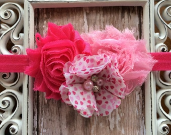 Valentine's Day Pink White Hearts Shabby Chic Frayed Flowers Headband Babies Toddlers Girls Women