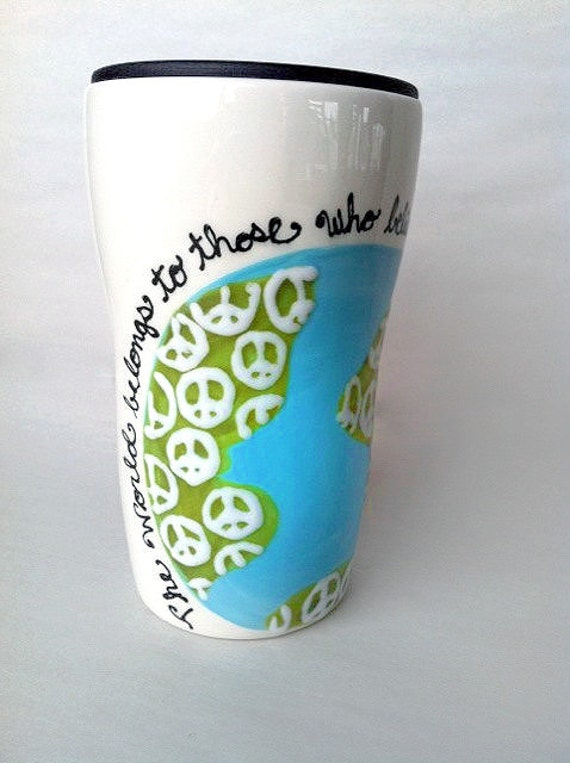 Travel Mug Handpainted with World Peace by Amanda Geiger