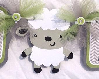 Lamb banner, lamb baby shower, baby shower banner, lamb decorations, it's a boy banner, boy baby shower, green decorations, chevron decor,