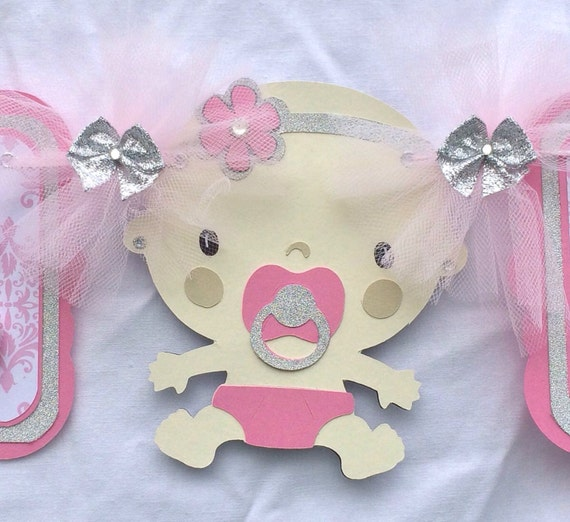 pink and silver baby shower banner pink and gray baby shower baby