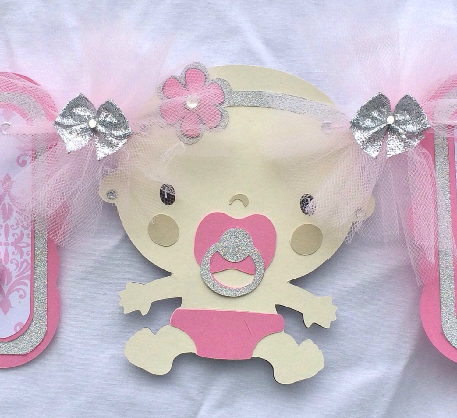 pink and silver baby shower banner pink by nancysbannerboutique