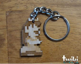 NES Princess Peach 8bit wood keyring OR charm accessory