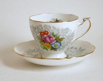Vintage Roslyn China, Tea Cup Saucer, English Bone China, Garden Wedding Decor, Harmony Floral