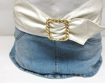 Wide White Belt Cinch Waist
