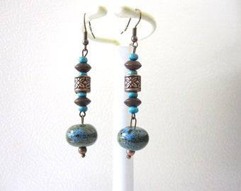 Western Earrings Turquoise Blue Brown Green Wood Porcelain