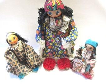 Vintage Folk Art Doll Set of Three