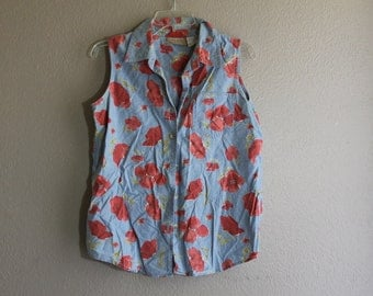 Denim and watercolor floral print sleeveless top- 90's grunge