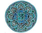 Mandala wall decoration made from ceramic - outdoor wall art - ceramic tile - mandala 21cm - turquoise