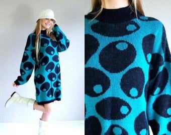 vtg 80s OLIVE PRINT martini novelty Sweater DRESS os knit jumper Esprit kitschy green oversized