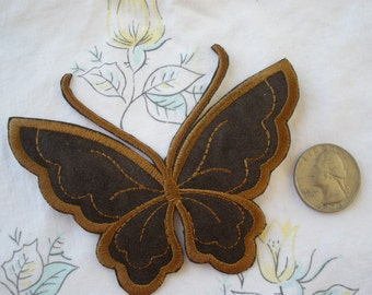 Embroidered Brown Suede Buttlerfly Applique patches embellishment Craft Accent scrapbooking sewing iron on two tone fabric