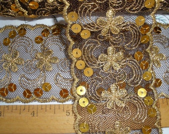 """Gold Embroidered on Brown Net Lace Ribbon Flowers & Sequins 2.5"""" wide trim embellishment scallop edge sari border inset lingerie edging"""