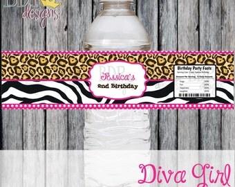 Diva Girl Cheetah & Zebra Print Water Bottle Label - Digital Download or Set of 12 for 15 dollars