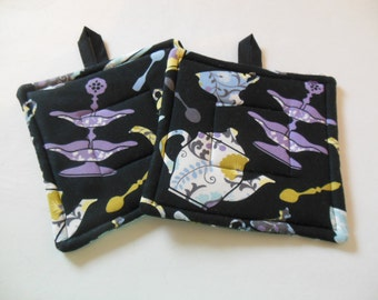 Potholders, Set Of Two Quilted Potholders, Pr of Teapot Potholders