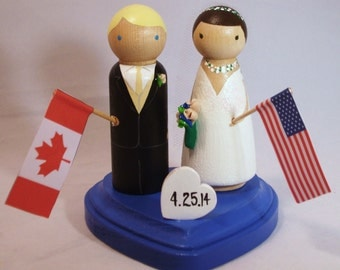 Wedding Cake Topper with Mini Love Heart Stand Two Flags Custom Cake Topper with Tiny Heart on Heart Stand