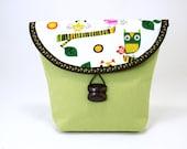 Green and Brown Bicycle Handlebar Bag with Owl Fabric