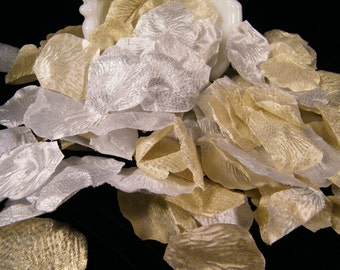 200 Rose Petals - Gold and Silver Metallic - Artifical Petals - Formal Elegant Wedding Decoration - Flower Girl Basket Petals