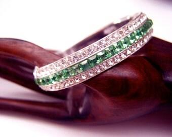 Vintage signed ORA art deco LINE green paste crystals bangle bracelet Book Piece